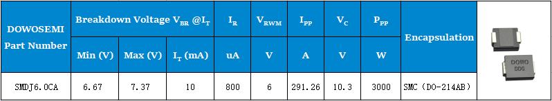 双向TVS二极管SMDJ6.0CA