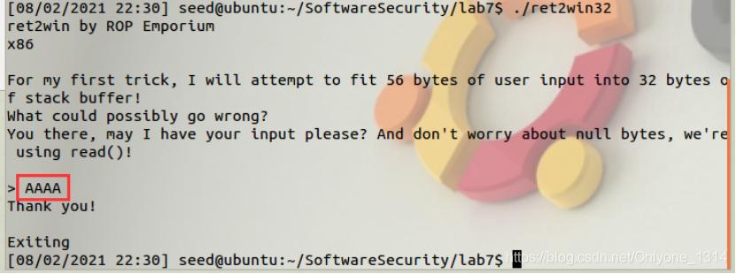 软件安全实验——lab6(缓冲区溢出3:返回导向编程技术ROP)