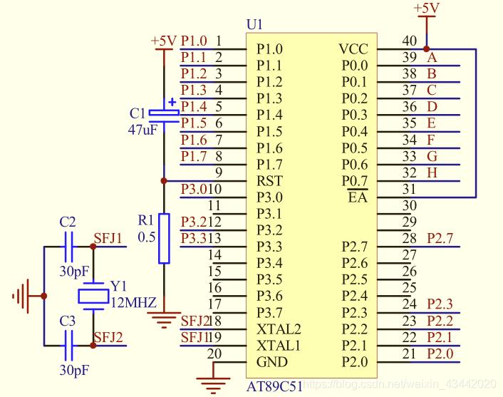 图1-2-2 单片机最小系统