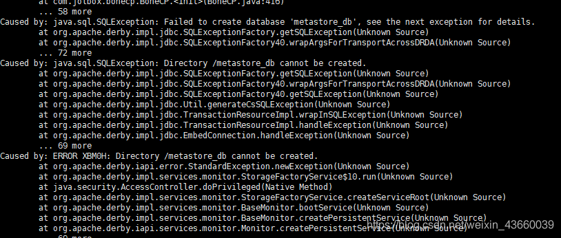 Directory /metastore_db cannot be created.的修改