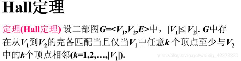 设二分图中G=<V1,V2,E>中 |V1|=m<=|V2|=n,G中存在从V1到V2的完备匹配当且仅当V1中任意k(k=1,2,...,m)个顶点至少邻接V2中的k个顶点。