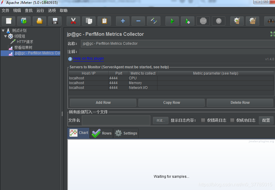 jmeter图形监视器在使用jp@gc-PerMon Metrics Collector时,页面