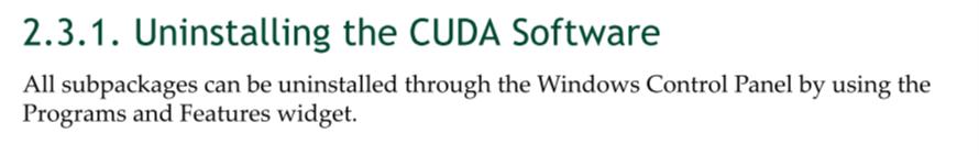 CUDA手册中的卸载方法