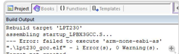 keil-keil5编译汉枫LPT230sdk时出现failed to execute arm-none-eabi-gcc