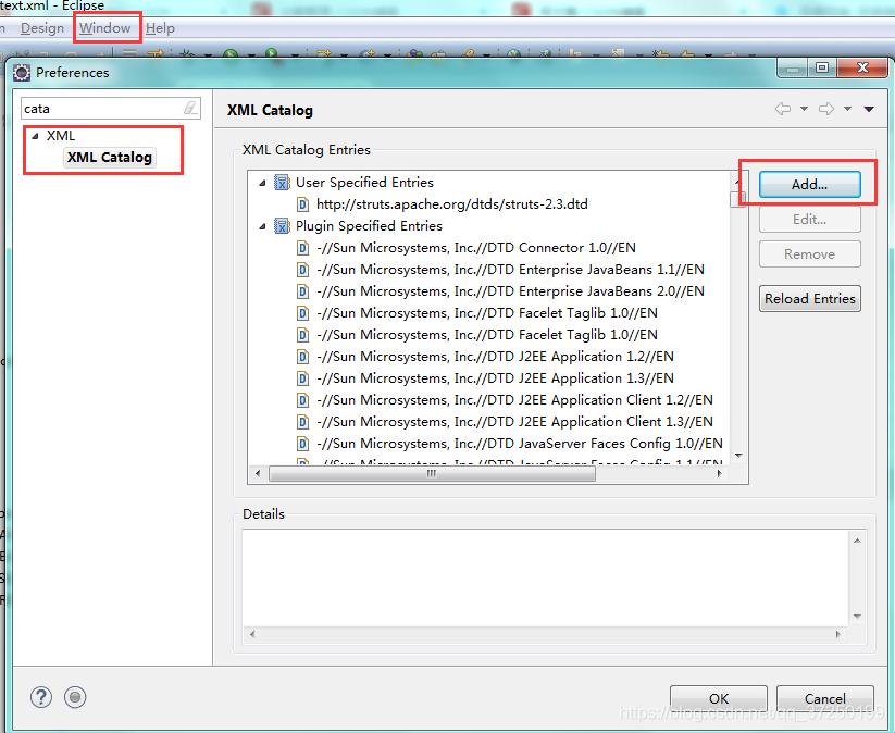 在Window-->Preferences-->搜索cata-->点击XML Catalog这里插入图片描述