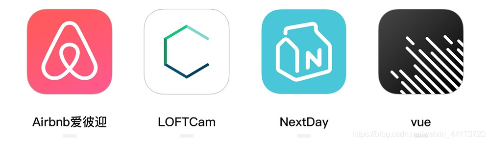 Airbnb、LOFTCam、NextDay、VUE的产品图标