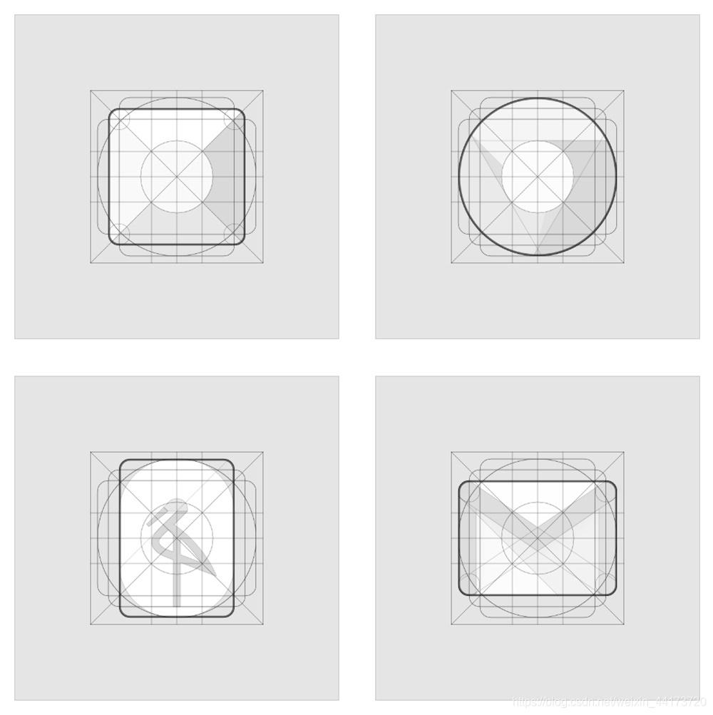 在网格的辅助下可以设计出大小均衡的图标