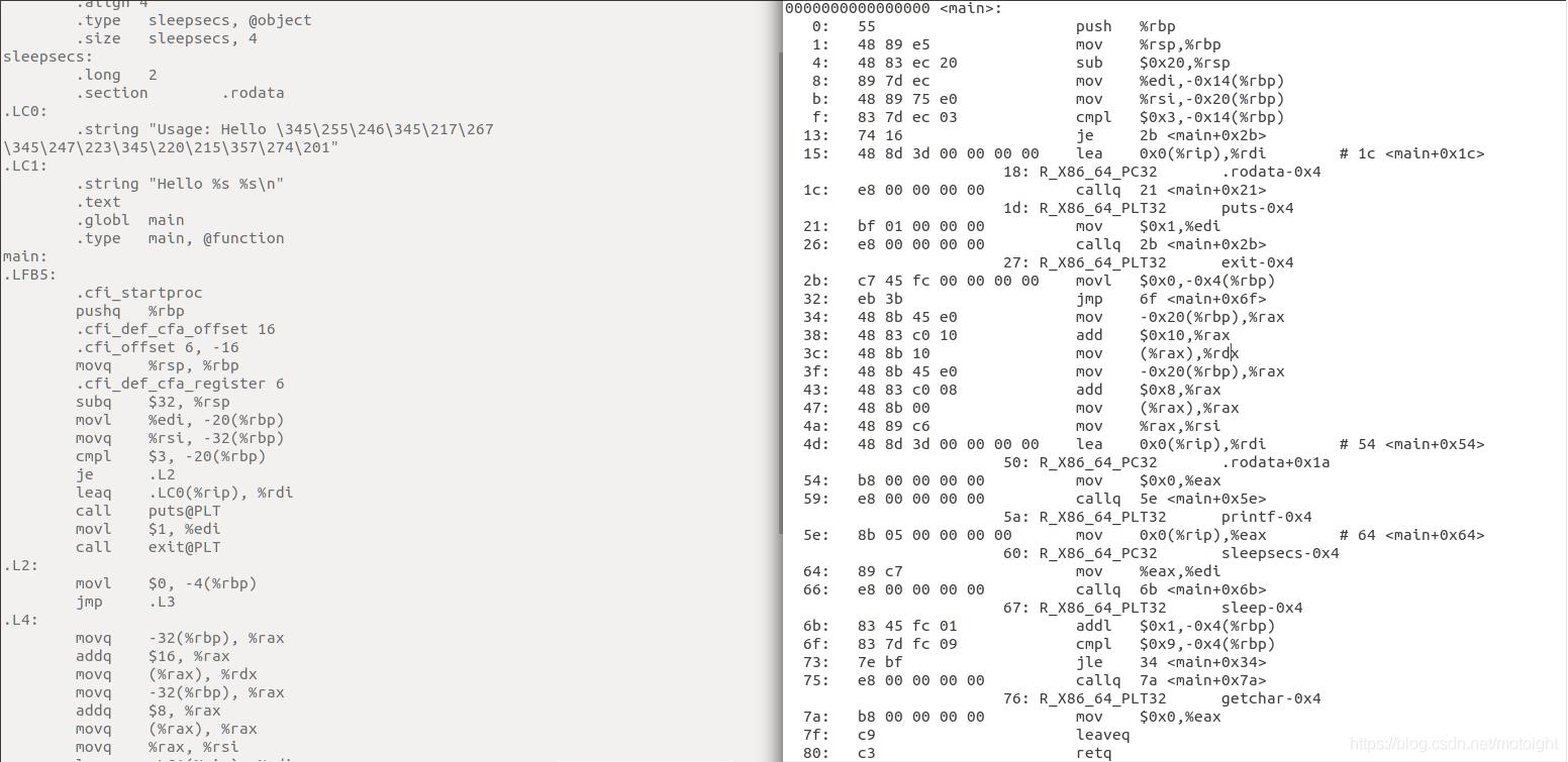 图 4.6 hello.s与helloobj的比较