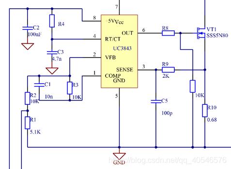 图3-3 UC3842各管脚电位