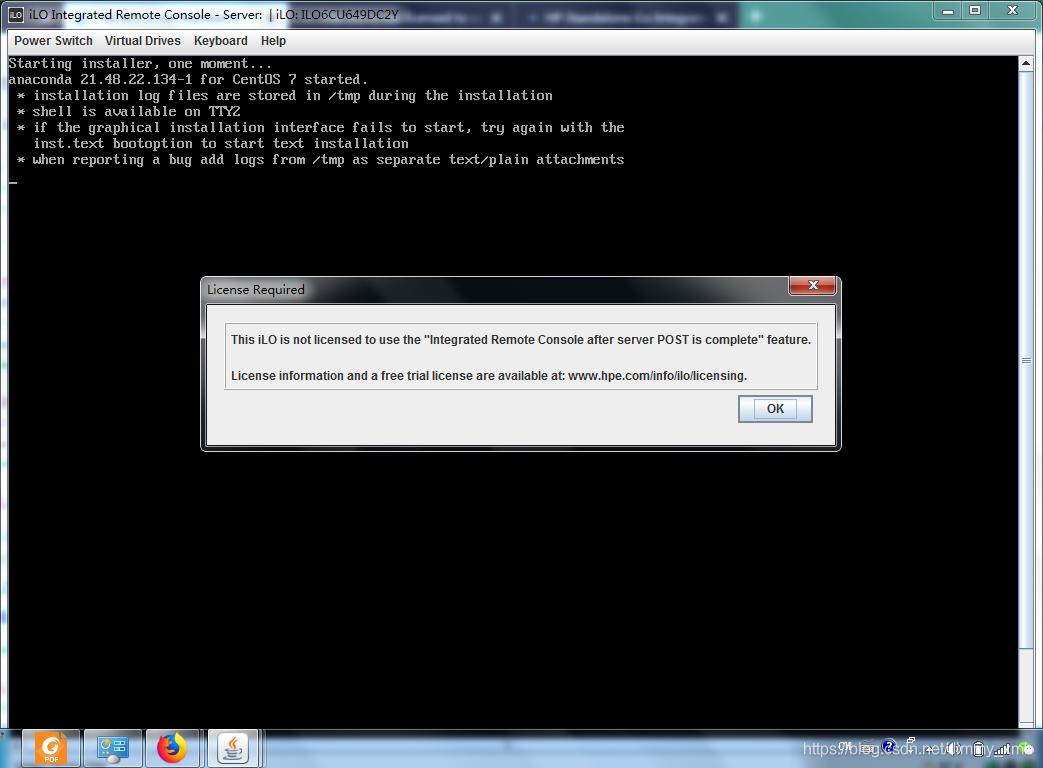 "HP服务器ILO提示License过期系统盘安装卡在""starting dracut"