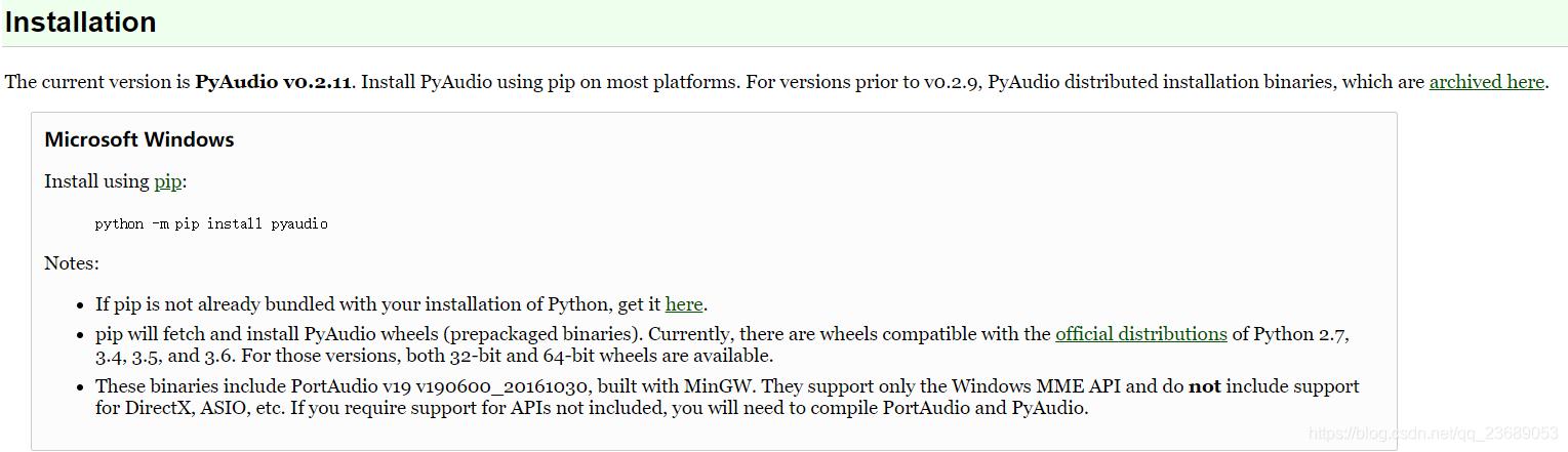 Windows上Python3 7安装pyaudio - qq_23689053的博客- CSDN博客