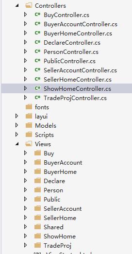 Controllers和Views文件夹有相互对应关系