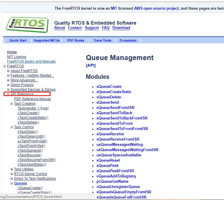 FreeRTOS官网的API