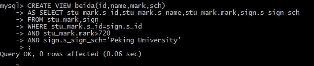 北大视图,学生id,name,mark,报考的北大