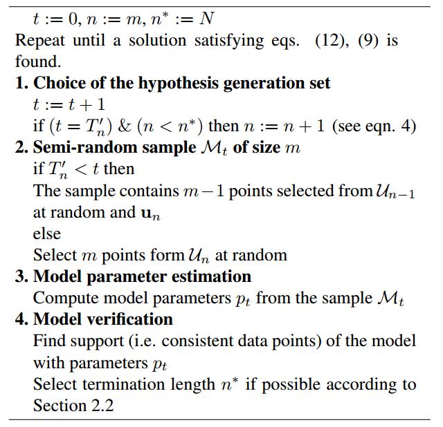 PROSAC算法伪代码