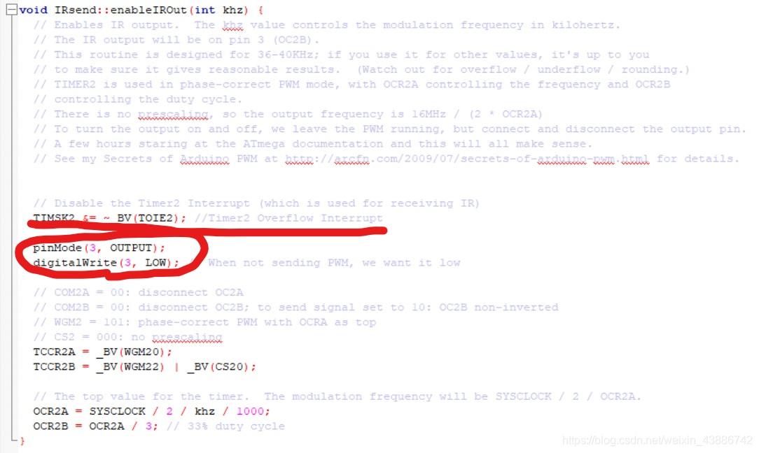 图中圆圈是发送函数的引脚(即D3),这也就是为什么发送红外固定用D3引脚。如不想用D3发送红外波,修改这里的引脚即可