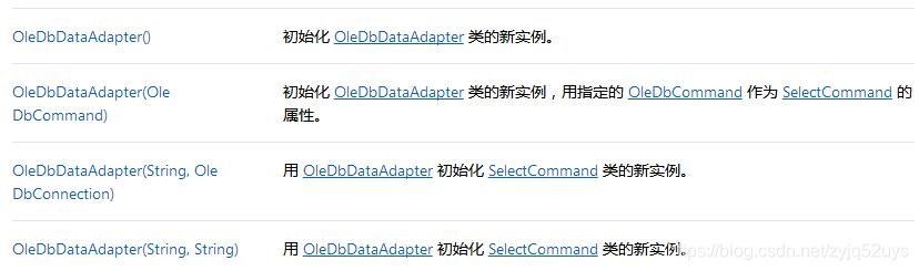OleDbDataAdapter对象的构造函数