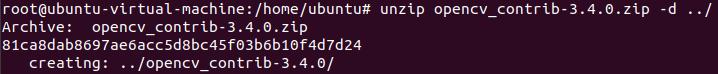 解压 opencv_contrib-3.4.0.zip 到 home 目录
