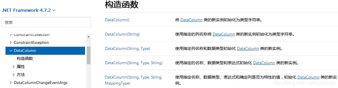 DataColumn 对象的构造函数