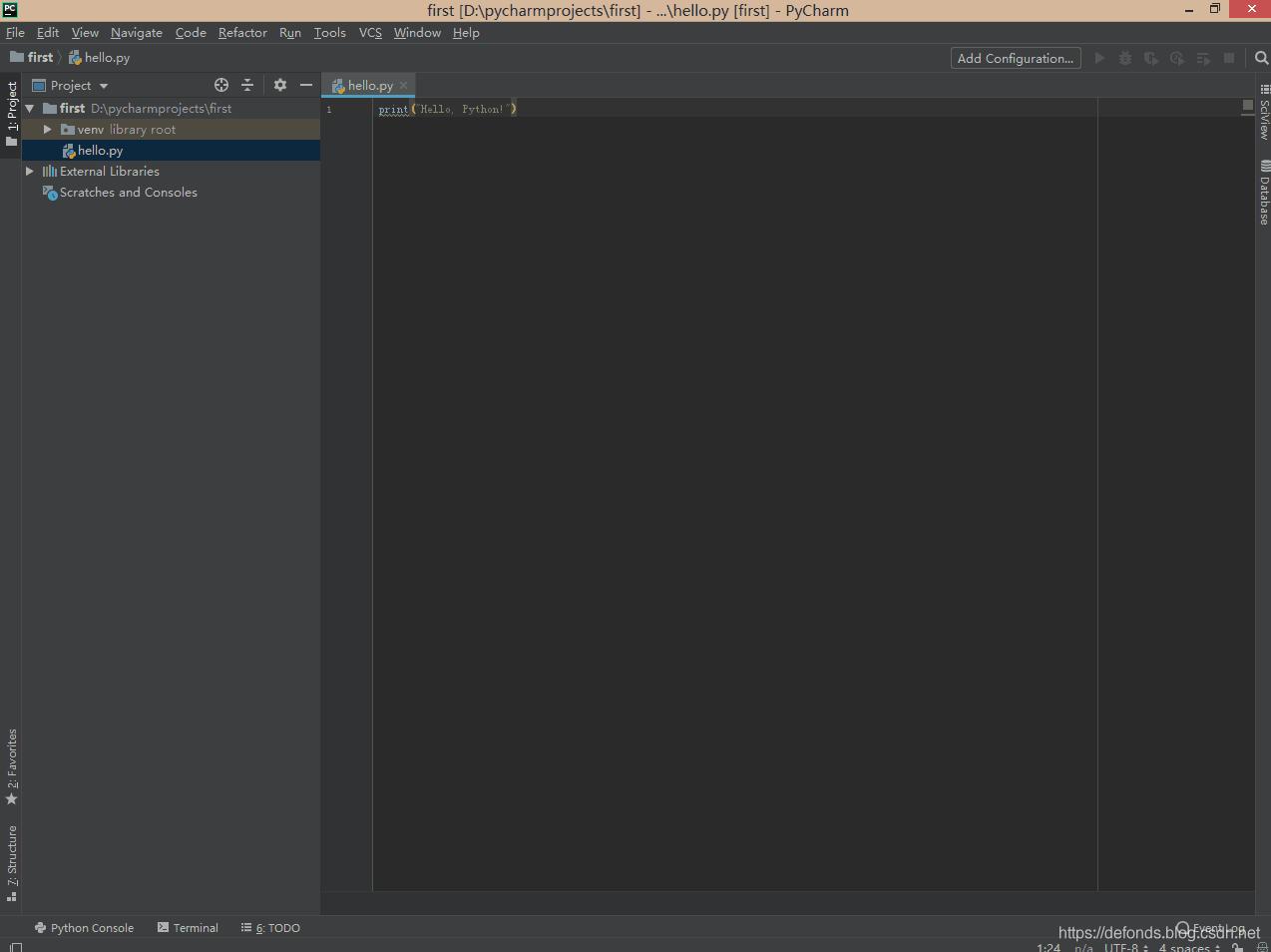 输入第一行 Python 代码.png