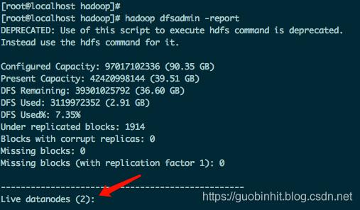hadoop dfsadmin -report