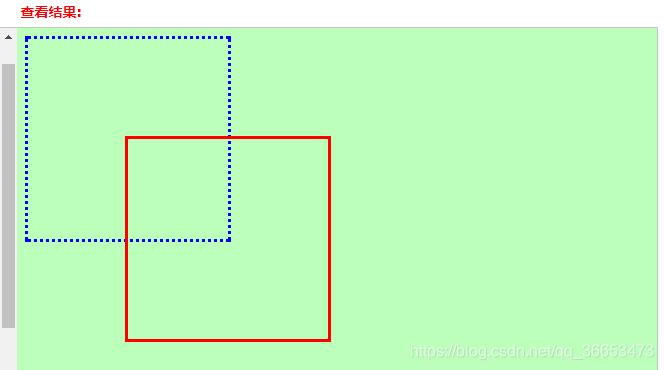 方框从蓝色原位置偏移到红色现位置