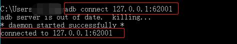 adb connect 127.0.0.1:62001