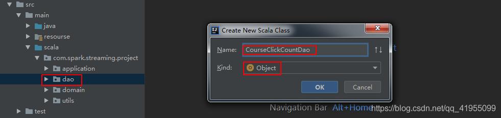 在dao包下创建CourseClickCountDao