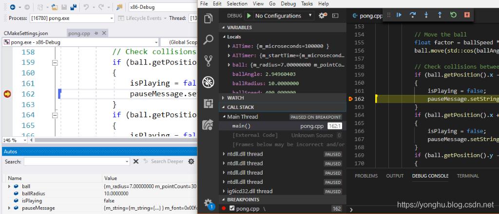 左侧是 Visual Studio 2019,右侧是 Visual Studio Code
