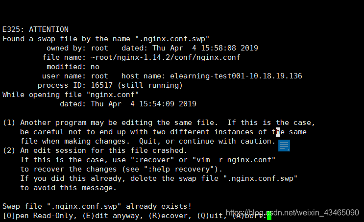"Nginx E325: ATTENTION Found a swap file by the name "".nginx.conf.swp"" 错误解决"
