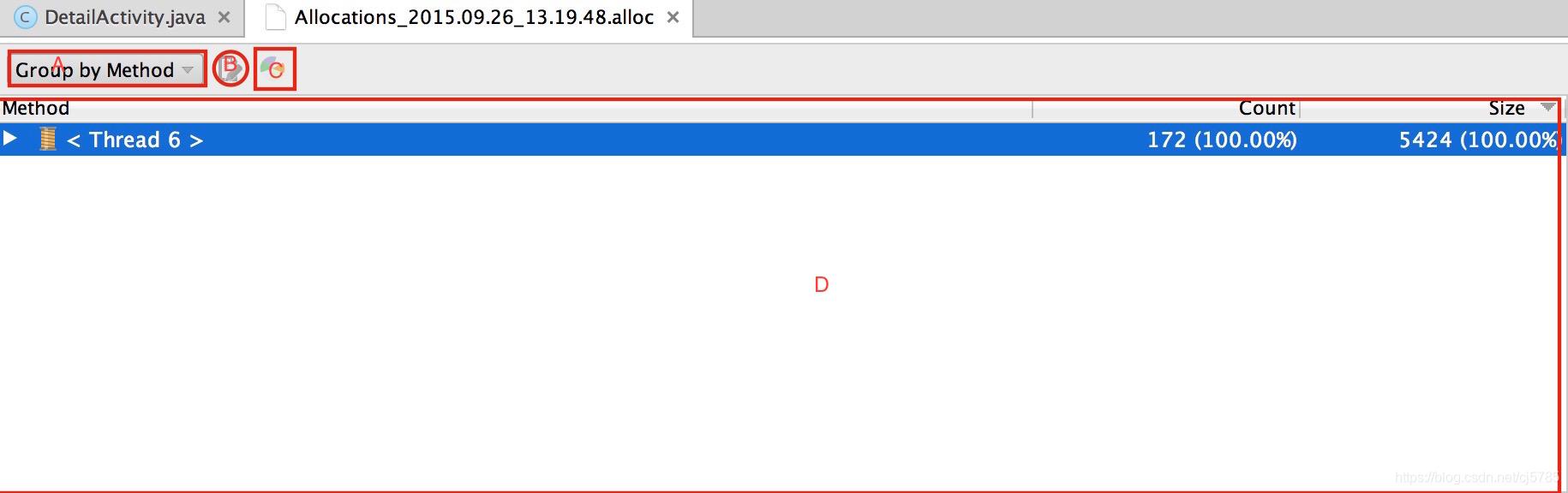 Allocation Tracker详细介绍信息面板