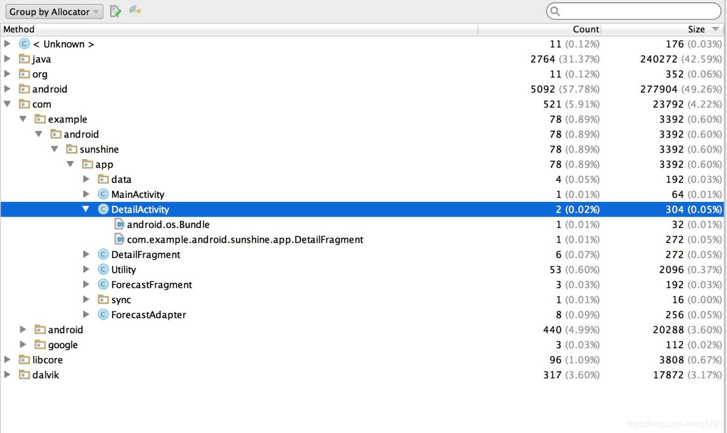 Allocation TrackerA标识信息内存分配顺序