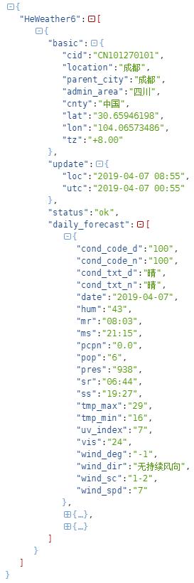 返回的天气json格式数据