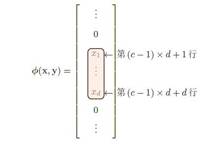 y为第c维为1的one-hot向量