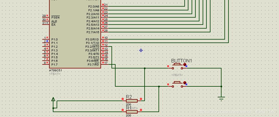 点击button1,这个时候中断信号通过P3.2发送给主程序,立即停止主程序运行,去执行中断函数,待中断函数执行完,主程序继续执行