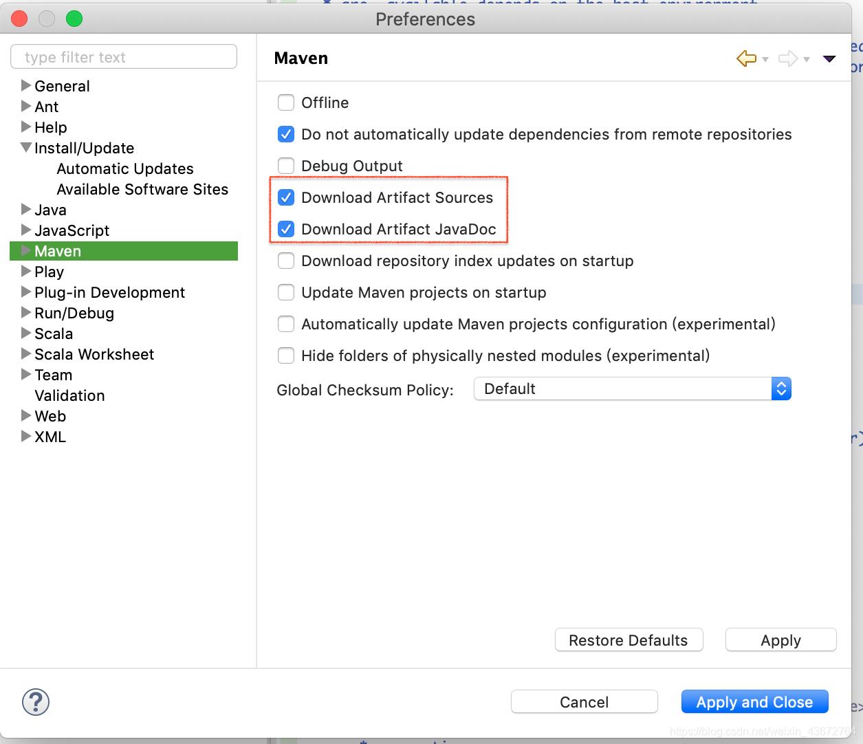 配置 eclipse 自动下载 maven 依赖包对应的源代码和 javadoc 文件
