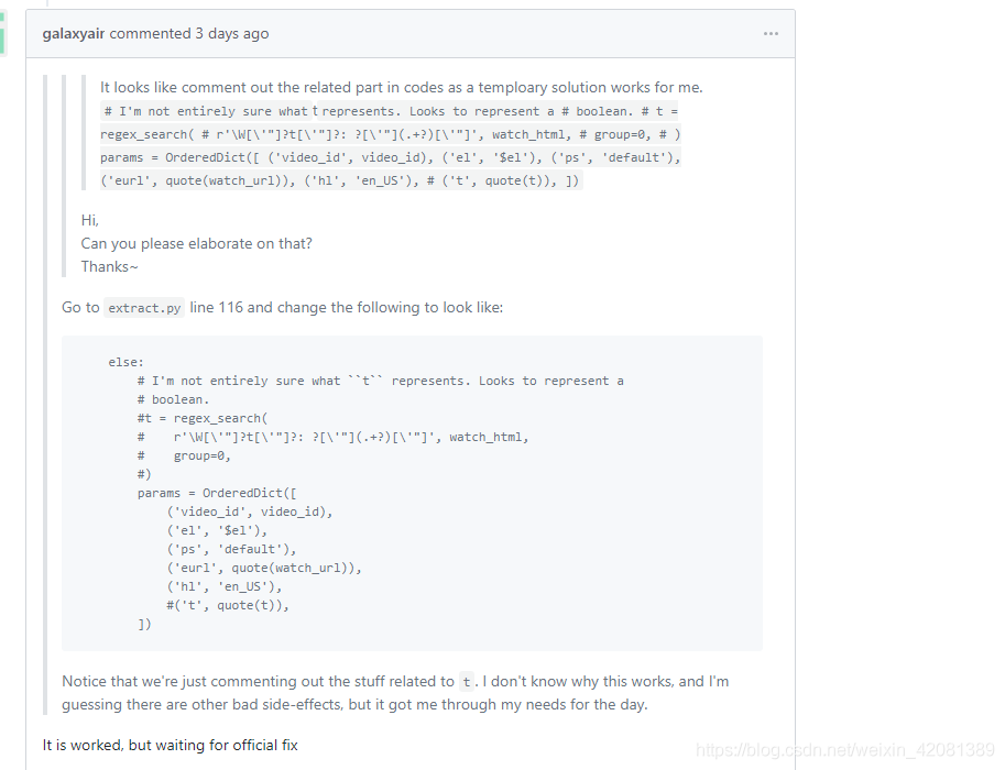 pytube exceptions RegexMatchError: regex pattern (\W[\'