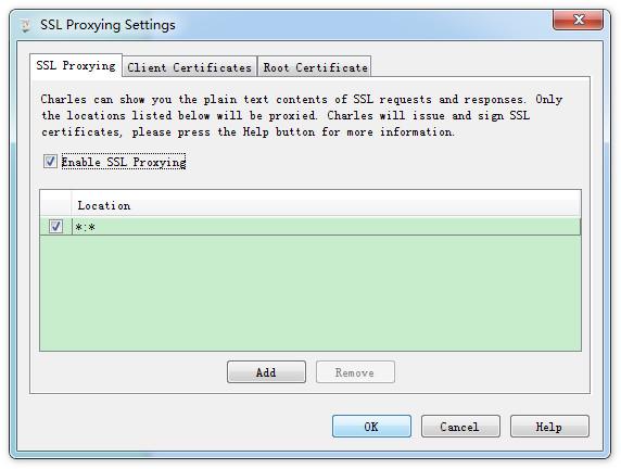 SSL Proxying Settings