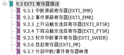 EXTI寄存器
