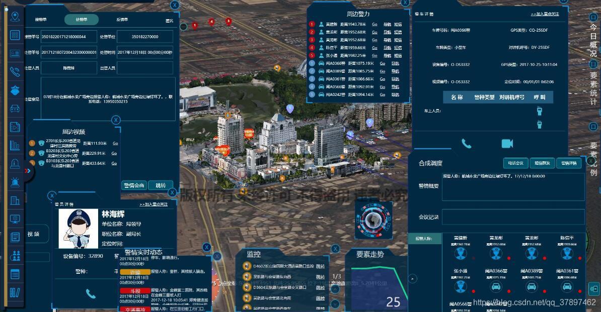 公安警务指挥一张图三维电子沙盘可视化地理信息系统