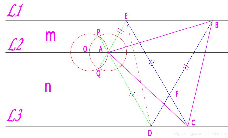 中间线作双圆法
