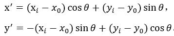 其中:x^'=(x_i-x_0)cos〖θ+(y_i-y_0)sinθ 〗,y^'=-(x_i-x_0)sin〖θ+(y_i-y_0)cosθ 〗。