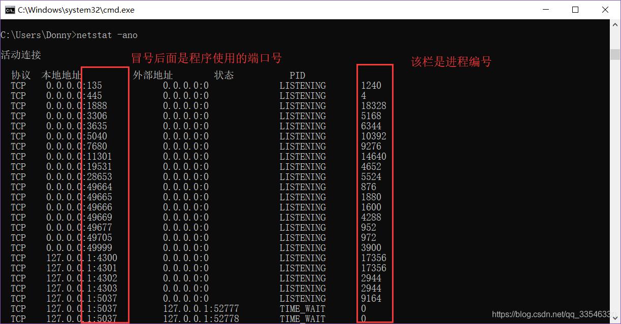 DOS窗口查看进程对应的端口号