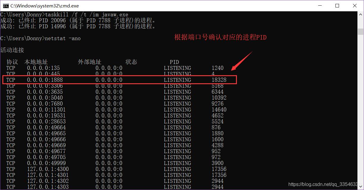 根据端口号确认进程PID