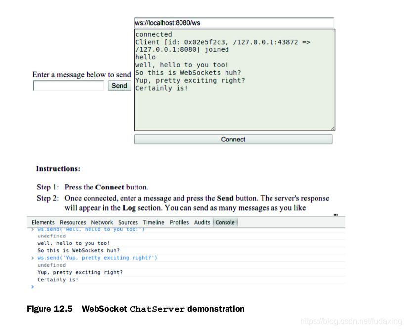 Figure 12.5 WebSocket ChatServer demonstration