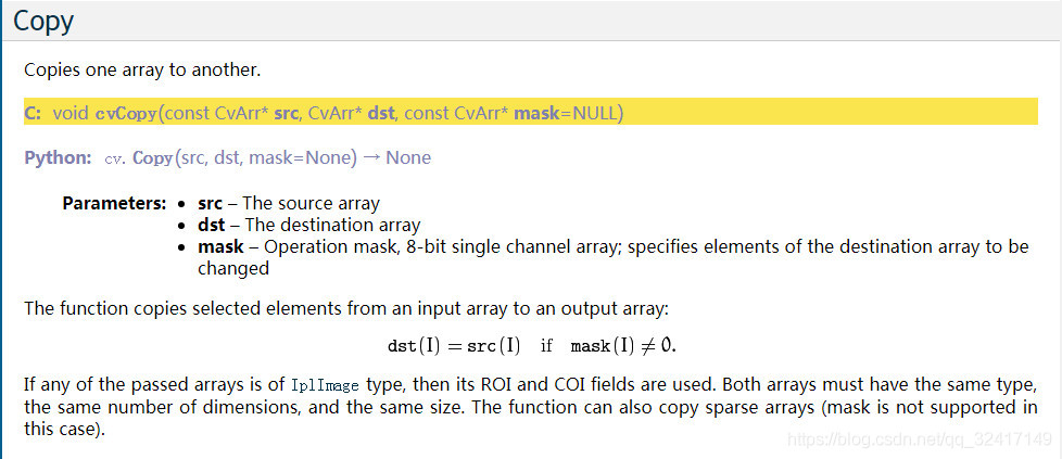 cvCopy cpp error:src depth() == dst depth() && src size