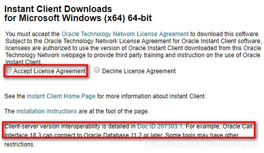 Instant Client for Microsoft Windows (x64) 下载页