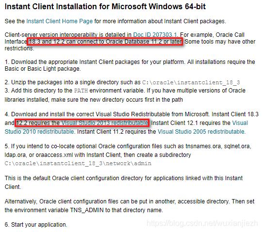 Instant Client for Microsoft Windows (x64) 下载页的底部