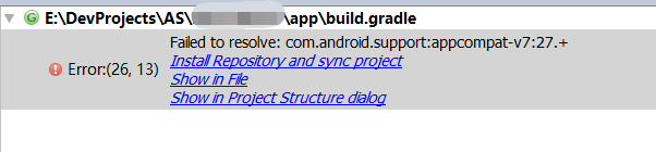 Failed to resolve: com android support:appcompat-v7:xx +