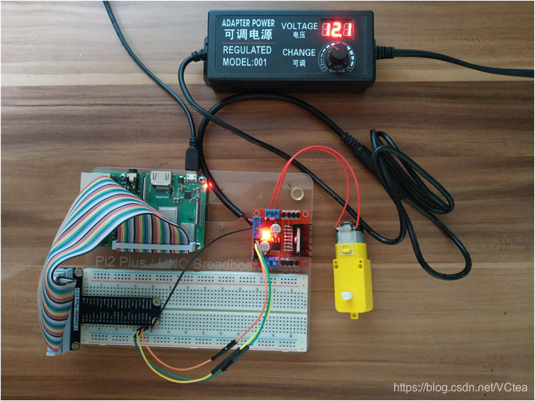 图 7.4 小型直流电机控制实物连接图